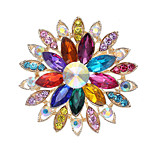 Women's Fashion Alloy/Rhinestone/Crystal Multicolour Flower Brooches Pin Party/Daily/Casual Scarf clips 1pc