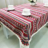 Rectangular Patterned Table Cloth , Linen / Cotton Blend MaterialChristmas Decor Favor Table Decoration Weddings Dinner Decor Home