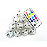 10Pcs Sem Fio Outros Rgb 3Led Smd2835 Remote Controlled Water Proof Candle Lamp Multi Cores
