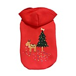 Dog Hoodie Red Dog Clothes Winter / Spring/Fall Deer Cute / Christmas