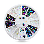 1pcs White AB Black Glitter Nail Rhinestone Pearls Wheel Round Heart Designs Acrylic