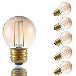 2W E26 LED Filament Bulbs G16.5 2 COB 160 lm Amber Dimmable 120V 6 pcs