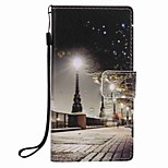 For Huawei P9 lite P8 lite City Scenery Painting PU Phone Case