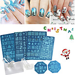 Xmas Nail Art Stamping Plates Flowers Christmas Design DIY Nail Templates Sticker Stamping Stencil Decorations Set Stamper