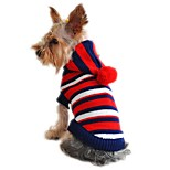 Cat Dog Sweater Hoodie Red Yellow Dog Clothes Winter Spring/Fall Stripe Fashion Christmas New Year's