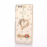 For Huawei P9 Plus Llte P8 Llte Rhinestone Case Back Cover Case Heart Hard PC  Honor 8 7 6 6Plus 5C 5X 4X 4C 4A Mate8 7