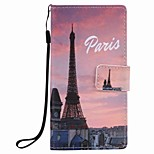 For Huawei P9 lite P8 lite Eiffel Tower Painting PU Phone Case