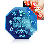 1pcs Christmas Style Stainless Steel Nail Plate New Series Nail Art Stamp