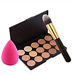 15 Concealer/Contour Wet Cream Concealer / Dark Circle Treatment / Big Rose Red Water Droplets Puff High Quality Foundation Brush
