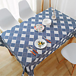 Square Patterned / Blue And White Porcelain Table Cloth  Linen Material Hotel Dining Table / Table Decoration