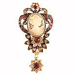 Women's Fashion Retro Alloy/Rhinestone Crystal Drop Flower Brooches Pin Party/Daily/Casual Jewelry Accessory 1pc