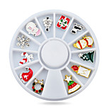 1pcs  Alloy Christmas Design Nail Art Decoration Wheel Glitter Rhinestone Manicure Nail Supplies Tools