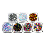 2g 3d Nail Art Glitter Paillette Round Colorful Thin Mixed Designs Nail Sparkly Sticker Tips Manicure Y01-07