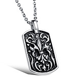 Men's Punk Style Pendant Charm Necklace 316L Stainless Steel Retro Carving Dog Tag Jewelry