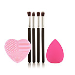 4 pcs Eyeshadow Brush Synthetic Hair Limits bacteria / Portable Wood Eye Wash Egg and Big Powder Puff