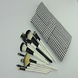ZX 16 Makeup Brush Black & White Wool Leather Handbags