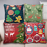 Merry Christmas Series Cartoon Cotton Linen Throw Pillow Case Home Decorative Reindeer Cushion Cover Pillowcase(Set of 4)
