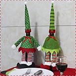 2PC Hot Sale Christmas Decoration Santa Claus Snowman Red Wine Bottle Cover