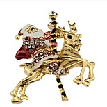 Diamond brooch Santa Claus deer