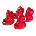 Cat / Dog Shoes & Boots Cute Summer / Spring/Fall Solid Red / Yellow / Blue / Pink Fabric
