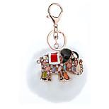 Key Chain Sphere Elephant White Metal Plush