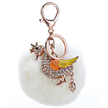 Key Chain Sphere / Swan Key Chain White Metal / Plush