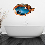 3D Wall Stickers Wall Decals, Calm Sea Bathroom Decor Mural PVC Wall Stickers