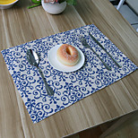 Rectangular Print Placemat , Cotton Blend Material Hotel Dining Table / Table Decoration