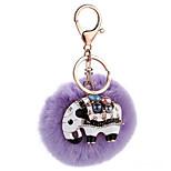 Key Chain Sphere Elephant Purple Metal Plush
