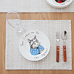 Square Print / Patterned / Animal Placemat , Cotton Blend Material Hotel Dining Table / Table Decoration