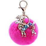 Key Chain Sphere / Dog Key Chain Peach Metal / Plush