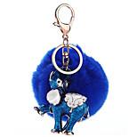 Key Chain Sphere Elephant Blue Metal Plush