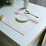 Rectangular Print Placemat , Cotton Blend Material Hotel Dining Table Table Decoration