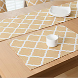 Square Print / Patterned / Gingham Placemat , Cotton Blend Material Hotel Dining Table / Table Decoration
