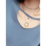 Women's Choker Necklaces Pendant Necklaces Chain Necklaces Layered Necklaces Jewelry AlloyBasic Geometric Durable Double-layer Punk