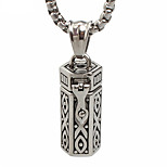 Punk Style Pendant Charm Necklace 316L Stainless Steel Retro Carving Box Shape Men And Women Jewelry