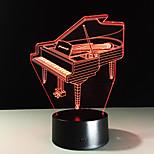 Novidade 3d piano usb noite luz lâmpada gadgets 7 cor mudando home beddside lampara para criança ano novo dom de controle remoto