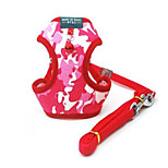 Dog Harness Adjustable/Retractable Safety Camouflage Red Nylon