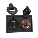 12V/24V cigarette lighter socket and 4.2A dual USB voltmeter adapter with housing holder panel for car boat truck RV