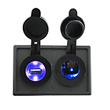 12V/24V  lighter led Power socket and 2.1A dual USB port with housing holder panel for car boat truck RV