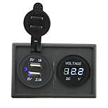12v / 24v 3.1a toma USB dual y voltímetro llevado con el panel titular de la vivienda para rv del carro del barco del coche