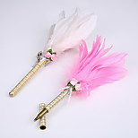 New Ribbon Pure Handmade Feather Wedding Party Signature Pen Marker Pen(Refill Gold)
