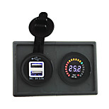 24V led digital display voltmeter and 3.1A USB adapter with housing holder panel for car boat truck RV