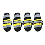 Dog Shoes & Boots Socks Fashion Waterproof Keep Warm Color Block Yellow Red Nylon PU Leather