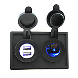12V/24V Cigarette lighter led Power socket and 4.2A dual USB port with housing holder panel for car boat truck RV