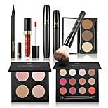 Shadow Mascara Eyeliner Eyebrow+Lip Gloss+Makeup Brushes Eyes Face Lips