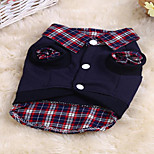 Cat Dog Sweatshirt Dog Clothes Summer Spring/Fall Plaid/Check Cute Sports Multicolor