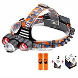 U'King® ZQ-X814R#4 Three Head 1*T6/2*XPE 5000LM Zoomable Multifunction 4Modes Headlamp Bike Light Kits with Safety Rear LED