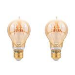 4W E26/E27 Ampoules à Filament LED A60(A19) COB 400 lm Blanc Chaud Décorative AC 100-240 V 2 pièces