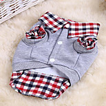 Cat Dog Sweatshirt Dog Clothes Winter Summer Spring/Fall Plaid/Check Cute Casual/Daily Sports Gray